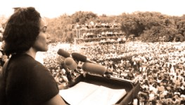 "19 Jun 1968, Washington, DC, USA --- 6/19/1968-Washington, D.C.: Mrs. Martin Luther King Jr., widow of the slain civil rights leader, addresses the ""Solidarity Day"" rally of the Poor People's Campaign from the steps of the Lincoln Memorial. She told the nearly 50,000 persons gathered that ""racism, poverty, and war"" had combined to make matters worse for poor black and white alike. --- Image by © Bettmann/CORBIS"